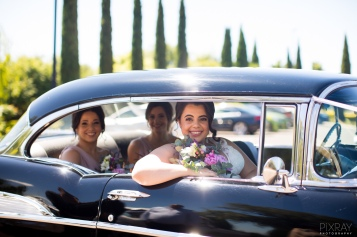 vintage wedding car bridal flowers