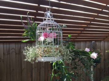 home party birdcage pink florals