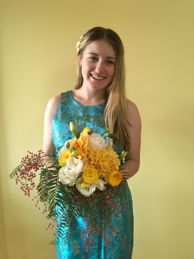 yellow bridesmaid bouquet asian peppercorn