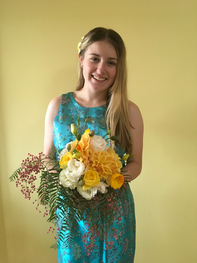 yellow bridesmaid bouquet asian peppercorn