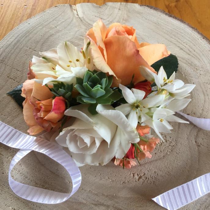 wedding wrist corsage cacti & apricot