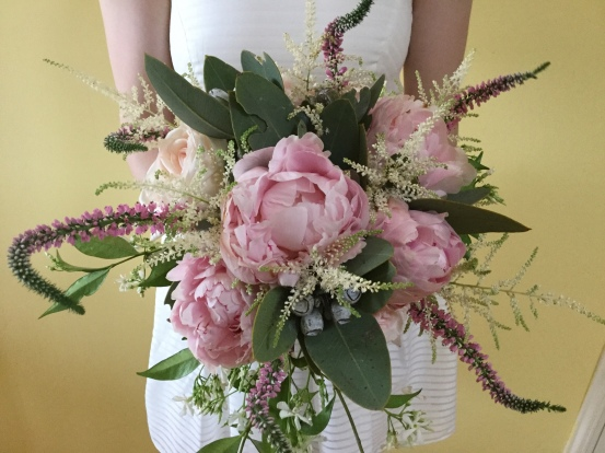 pink unstructured peony bridal bouquet