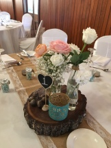 rustic wedding table flowers mill park florist