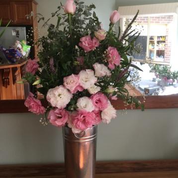 Vintage Pink Statement Vase arrangement