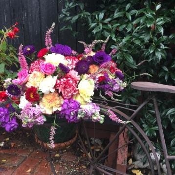 rustic bike prop florals mill park florist