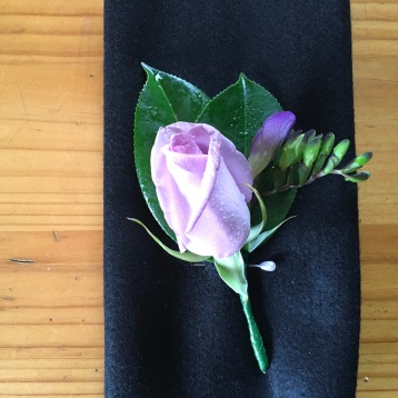 Lavender rose and freesia grooms buttonhole vintage flowers