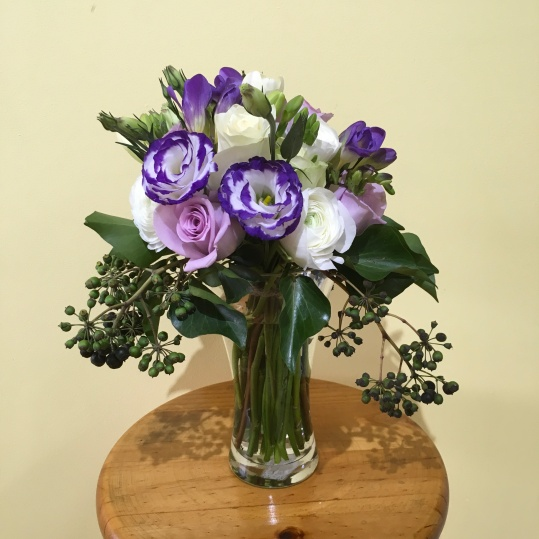 purple and white bouquet mill park florist