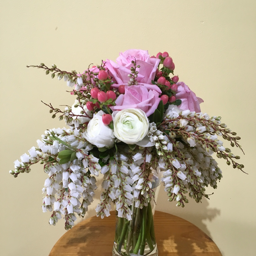 romantic pink and white bridal bouquet vintage flowers