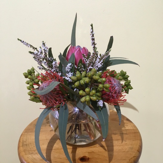 native fishbowl vase table arrangement for wedding mill park florist