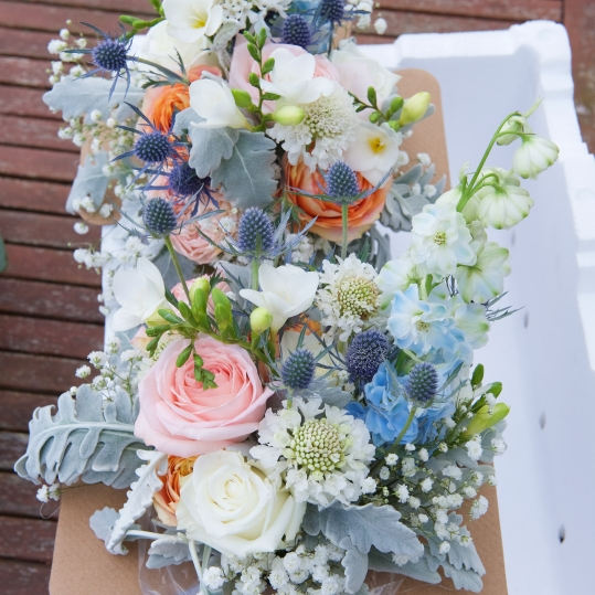 vintage blue white pastel bridesmaid bouquets mill park florist