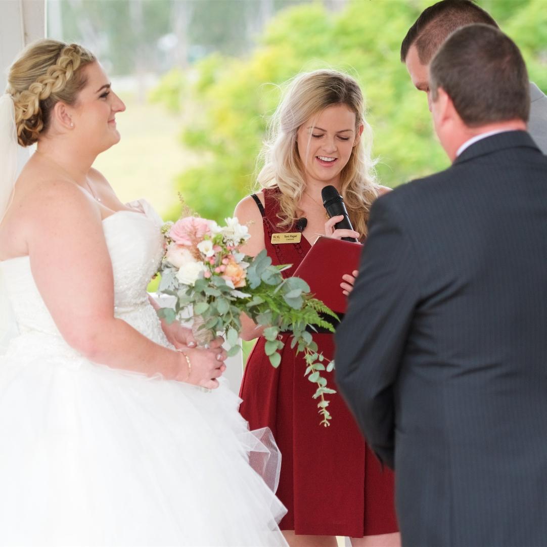 wedding ceremony trailing bridal bouquet rustic mill park florist